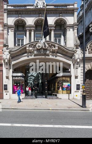The entrance to Burlington Arcade, Piccadilly, London, England, UK. - Stock Photo