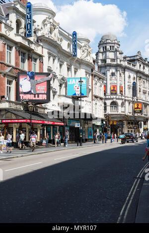 Lyric, Apollo and Gielgud theatres, Shaftesbury Avenue, Soho, London, England, UK - Stock Photo
