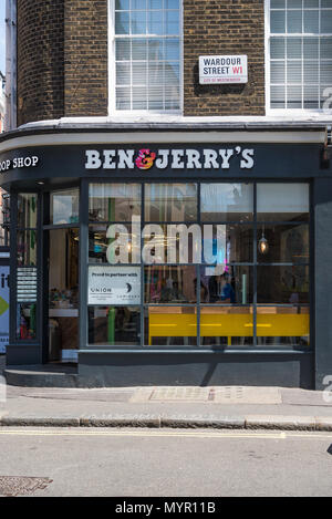 Ben and Jerry's ice cream parlour in Wardour Street, Soho, London, England, UK - Stock Photo