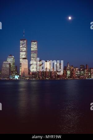 1989 Skyline of Lower Manhattan , NYC, USA - Stock Photo