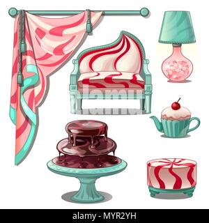 Interior and bright furniture in style sweets and confectionery. Vector illustration. - Stock Photo