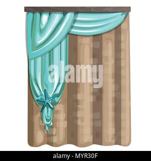 Curtain of burlap and fabric in turquoise color with decorations in the form of a starfish. Ideas for interior isolated on white background. Vector illustration. - Stock Photo