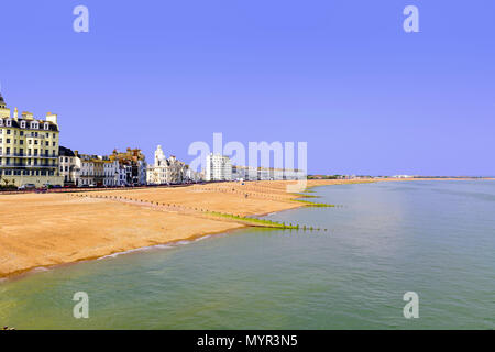 View of Eastbourne beach from the pier - Stock Photo