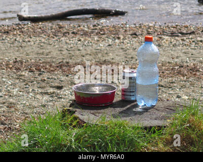 Dog water bowl with bottle of water - Stock Photo