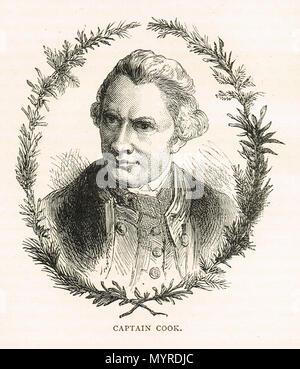 Captain James Cook, English explorer cartographer and navigator (1728-1779) - Stock Photo