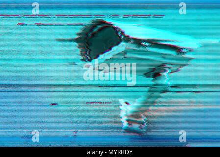 Digital glitch effect on cctv surveillance security camera image - Stock Photo