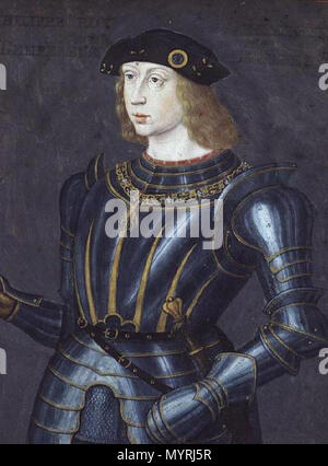 . Portrait of Philip I of Castile (1478-1506) . 15th century 364 Philip II of Spain (young, French School) - Stock Photo