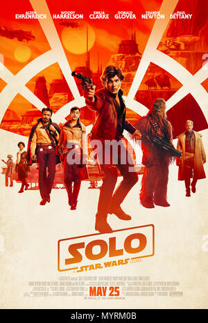 Solo: A Star Wars Story (2018) directed by Ron Howard and starring Alden Ehrenreich, Woody Harrelson, Emilia Clarke and Donald Glover. A pre-prequel look at the early lives of Han Solo, Chewbacca and Lando Calrissian. - Stock Photo