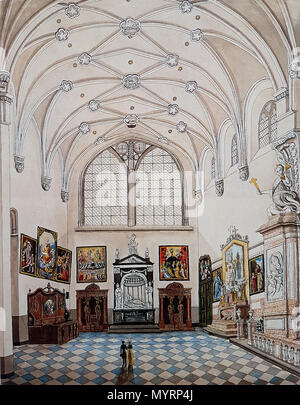 . English: View of the north transept of the Basilica of Saint Servatius in Maastricht, the Netherlands. The drawing is by local artist and amateur historian Philippe van Gulpen (mid-19th c).  . 16 July 2016, 10:25:09. Philippe van Gulpen (1792–1862) 17 Noordertransept St-Servaaskerk, Maastricht (Ph v Gulpen, ca 1860) - Stock Photo