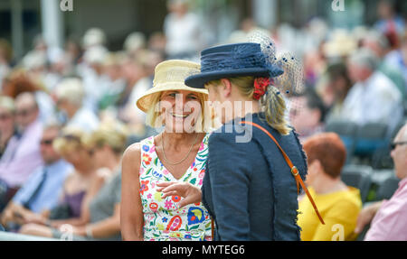 Ardingly Sussex UK 8th June 2018 - Smart hats at the South of England Show in beautiful sunny weather held at the Ardingly Showground near Haywards Heath Sussex Photograph by Simon DackCredit: Simon Dack/Alamy Live News - Stock Photo