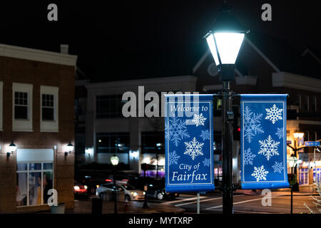 Fairfax, USA - December 24, 2017: Christmas Eve decorations in downtown county historic city with holiday welcome sign, tree in Virginia - Stock Photo