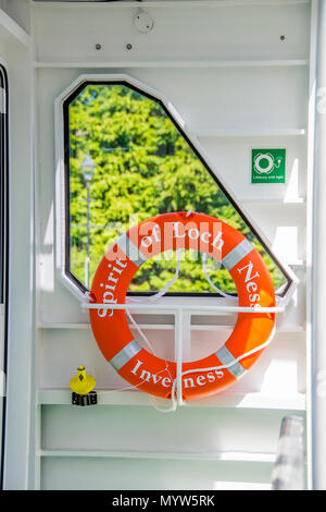 Safety ring from The Spirit of Loch Ness catamaran cruise Loch Ness. - Stock Photo
