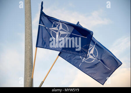 North Atlantic Treaty Organization NATO flag in Gdynia, Poland. January 14th 2017 © Wojciech Strozyk / Alamy Stock Photo - Stock Photo