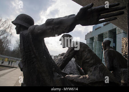 Warsaw Uprising Monument (Pomnik Powstania Warszawskiego) on Krasinski Square in Warsaw, Poland. 21 March 2017. Monument shows Polish resistance fight - Stock Photo