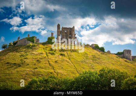 Ruins of Corfe Castle near Wareham, Isle of Purbeck, Dorset, England - Stock Photo
