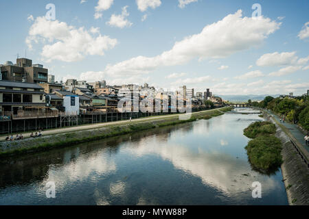 View of Kyoto and the Kamo River - Stock Photo