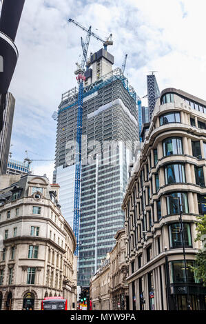 Partially completed skyscraper office tower 22 Bishopsgate under construction in the heart of the financial district of the City of London EC2 - Stock Photo