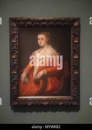 . Français: Huile sur toile vers 1553  . 25 March 2018, 16:52:19. Tintoret 84 Portrait d'une jeune femme dans un fauteuil-1 - Stock Photo