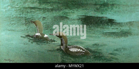. English: Painting of two Black-throated Divers.  . 1901.   Bruno Liljefors (1860–1939)   Alternative names Bruno Anders Liljefors; Bruno Andreas Liljefors; Bruno Liliefors; B.A. liljefors; b. liljefors; br. andr. liljefors; Liljefors  Description Swedish painter and cartoonist  Date of birth/death 14 May 1860 18 December 1939  Location of birth/death Uppsala Stockholm  Work location Stockholm (1879 - 1882)  Authority control  : Q730008 VIAF:?52553206 ISNI:?0000 0001 0901 5725 ULAN:?500018964 LCCN:?n81145857 NLA:?35122666 WorldCat 15 Black-throated Divers - Bruno liljefors - 1901 - Stock Photo