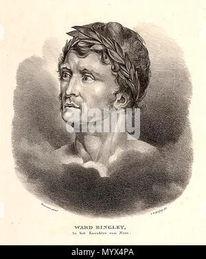 . English: Engraving after a drawing by Jan Willem Pieneman(?) of Dutch actor Ward Bingley (1757-1818) as Nero in the tragedy Épicharis et Néron (1794) by Gabriel-Marie Legouvé.  . 19 January 2018, 08:51:55. Jan Willem Pieneman? (1779-1853) 25 Ward Bingley als Nero in Epicharis & Nero - Stock Photo