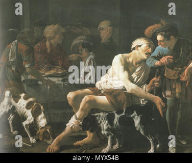 . English: The parable of the rich man and poor Lazarus, Lucas 16:19-13  . 1625. Hendrick ter Brugghen 98 The rich man and a poor Lazarus - Stock Photo