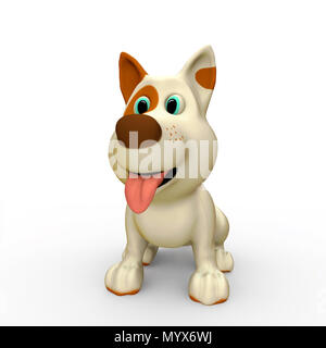 Cute dog on white background with shadow. 3D render illustration - Stock Photo