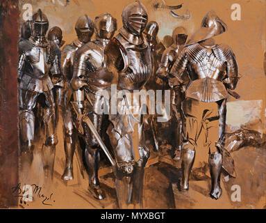 ". 'Armor Chamber Fantasy', 1866 . 1866 7 Adolf Menzel - ""Armor Chamber Fantasy"", 1866 - Google Art Project - Stock Photo"