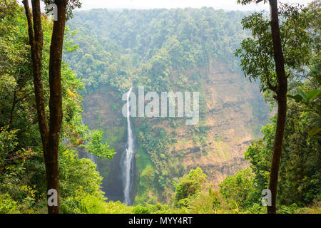 streaming line waterfall from high mountain in Laos