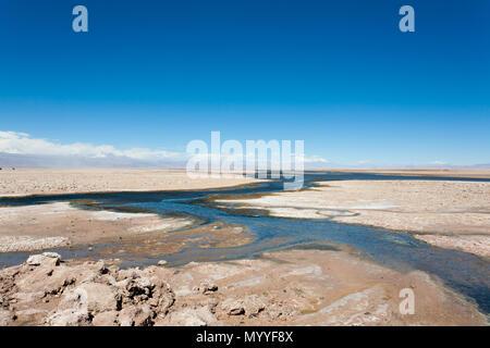 Flamingo natural reserve, Chile.  San Pedro de Atacama, Los Flamencos National Reserve - Stock Photo