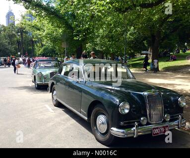 Vintage cars on display in Kings Domain, Melbourne, Australia. Australia Day celebrations. RACV Federation Vehicle - Stock Photo