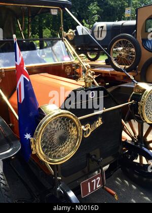 Detail of vintage Buick with Australian flag, on display in Kings Domain as part of the RACV Federation Vehicle - Stock Photo