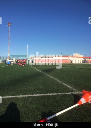 Gibraltar, Gibraltar. 07th Mar, 2015. Gibraltar - 7th. March 2015 - Malta opens score with try against Gibraltar. - Stock Photo
