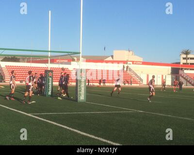 Gibraltar, Gibraltar. 07th Mar, 2015. Gibraltar - 7th March 2015 - Gibraltar scores try shortening the score to - Stock Photo