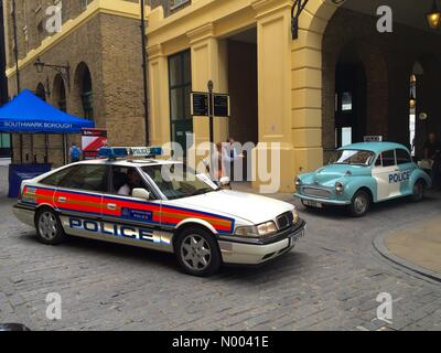 London, UK. 11th Aug, 2015. Classic Police cars on show in Hays Galleria near Tower Bridge, showing the public how - Stock Photo