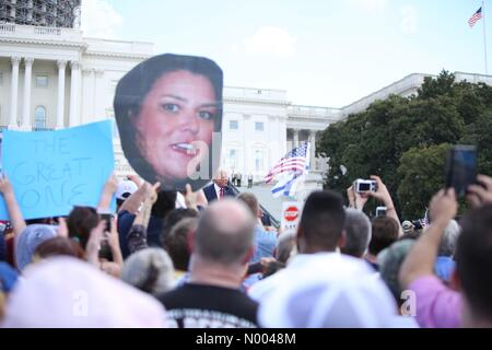 Washington, DC, USA. 09th Sep, 2015. Donald Trump speaks at the rally against the Iran nuclear deal on the West - Stock Photo