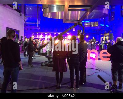 Hallam St, London, UK. 16th Nov, 2015. Jess Glynne & Tom Daley on The One Show outside the BBC tonight Credit:  - Stock Photo