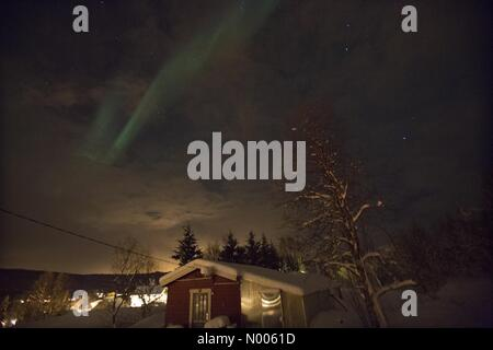 EUweather: Northern light photographed in Sørreisa, Troms, Norway. NO. 11th February, 2016. Credit:  Arthur Gebuys - Stock Photo