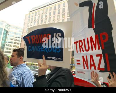Anti-Trump Rally outside of the Mayflower Hotel in Washington, DC where Donald Trump is about to speak on 27th April, - Stock Photo
