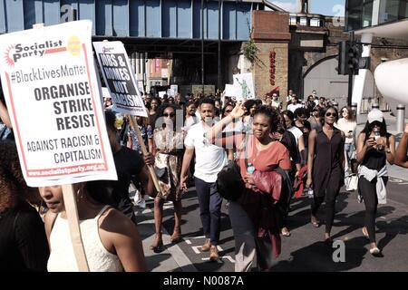 London, UK. 6th August, 2016. Black Lives Matter UK(UKBLM) activists protesting against racism in the UK, Blackfriars - Stock Photo