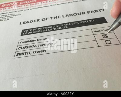Eatington Rd, London, UK. 30th Aug, 2016. UK. 30 AUGUST 2016. Voting papers for the election of a new leader of - Stock Photo
