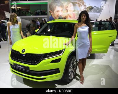 Paris, France. 29th September, 2016: Skoda Kodiaq large SUV at world premiere at Paris Motor Show Credit:  highbrow - Stock Photo