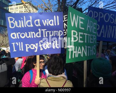 "E 14th St, New York, New York, USA. 12th Nov, 2016. Protestors at the ""Not My President"" rally, Union - Stock Photo"