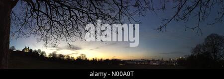 London, UK. 22nd Dec, 2016. Dusk, Greenwich observatory, London. (Weather, UK). © Glenn Sontag/StockimoNews/Alamy - Stock Photo