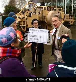 Protesters at Herefordshire Defence and Security Expo - Hereford UK - Wed 1st February. Local peace campaigners - Stock Photo