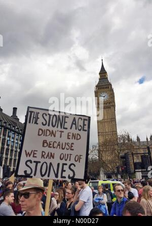 St Margaret St, London, UK. 22nd Apr, 2017. March for Science, 22nd April 2017 London, UK. Part of an international - Stock Photo