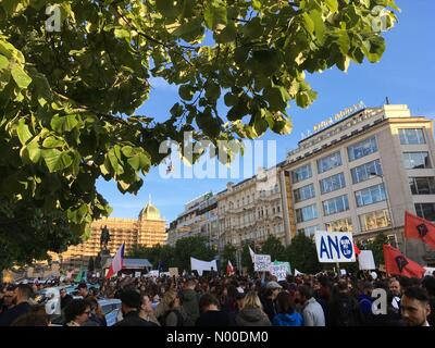 Prague, Czech Republic. 10th May, 2017. Demonstration in Prague against the president Miloš Zeman and minister of - Stock Photo