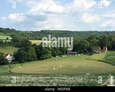 Luddesdown, Gravesend, UK. 17th June, 2017. A cricket match taking place today at a picturesque cricket ground in - Stock Photo