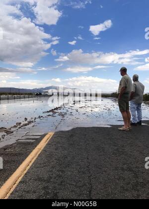 NV-160, Las Vegas, Nevada, USA. 04th Aug, 2017. Flash flood Credit: Kalai's World/StockimoNews/Alamy Live News - Stock Photo