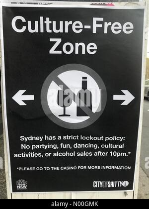 Chippendale NSW, Australia. 12th Sep, 2017. Fake City of Sydney Council posters put up to protest against stricter - Stock Photo