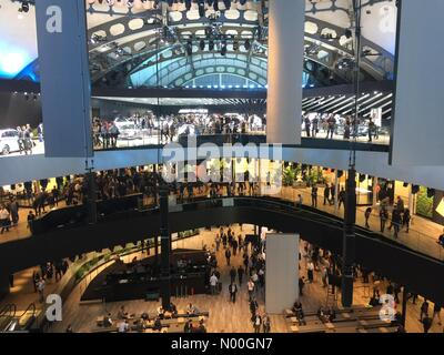 Frankfurt, Germany. 12th of September 2017. Frankfurt Motor Show 2017 press day preview of new cars. Interior of - Stock Photo